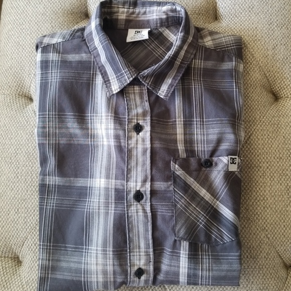 1f5aa1a53 DC Shirts & Tops | Boys Plaid Grey White Button Down Szm | Poshmark